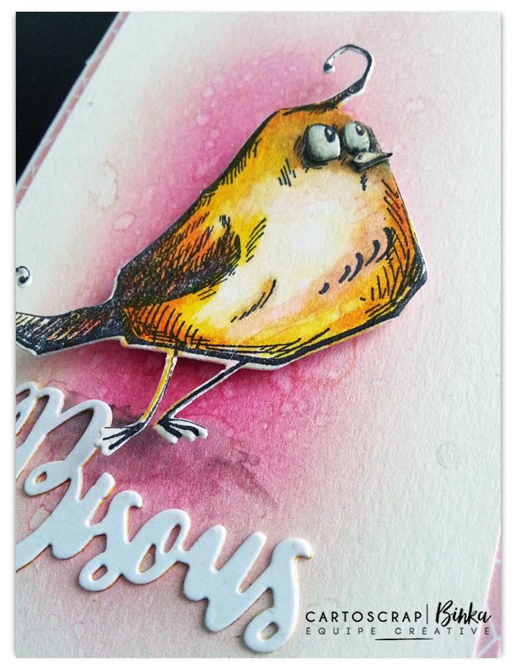 binka oiseau rose